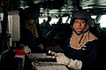 US Navy 040407-N-9851B-043 Boatswain's Mate 2nd Class Audrey Silva stands the Boatswain's Mate of the Watch on the bridge of the nuclear powered aircraft carrier USS Harry S. Truman (CVN 75) during a General Quarters (GQ) drill.jpg