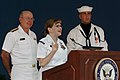 US Navy 040527-N-2383B-081 Adm. Vern Clark, Chief of Naval Operations (CNO) watches Dental Technician 1st Class Michele I. Villagran, of Naval Dental Center Northwest, as she is overcome with joy after being announced as this y.jpg