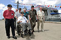 US Navy 040915-N-3228G-001 World War II veterans assigned to USS Sigsbee (DD 502) arrive at the Arleigh Burke-class guided missile destroyer USS Chung-Hoon (DDG 93).jpg