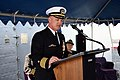 US Navy 050415-N-0000N-039 Commodore, Destroyer Squadron Six Zero (DESRON 60), Capt. Thomas S. Rowden, makes his remarks after assuming command during the command's change of command ceremony.jpg