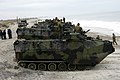 US Navy 060223-N-6482W-052 U.S. Marine Corps' Amphibious Assault Vehicles (AAV) assigned to the 2nd AA Battalion, Bravo Company arrive on Onslow Beach as part of a beach invasion exercise.jpg