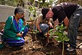 US Navy 070703-N-6516T-135 Master Chief Avionics Specialist Jeff Roan, assigned to the Black Aces of Strike Fighter Squadron (VFA) 41, and Meena Y. Reddy, an employee of the American Library in Chennai, help plant trees in the.jpg