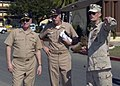 US Navy 071222-N-1125B-110 Joint Task Force Guantanamo Command Master Chief Brad LeVault directs the attention of Chief of Naval Operations, Adm. Gary Roughead and Naval Station Guantanamo Bay, commanding officer, Capt. Mark Le.jpg