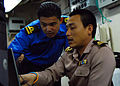 US Navy 090817-N-5207L-080 Naval liaison officers from Malaysia and Thailand coordinate efforts aboard the amphibious dock landing ship USS Harpers Ferry (LSD 49).jpg