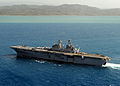 US Navy 100725-N-4153W-294 s assault ship USS Iwo Jima (LHD 7) is underway off the coast of Haiti participating in the Continuing Promise 2010 humanitarian civic assistance mission.jpg