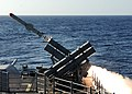 US Navy 101027-N-3374C-101 he guided-missile cruiser USS Gettysburg (CG 64) fires a Harpoon anti-ship missile at the ex-USNS Saturn during a sinkin.jpg
