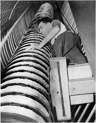Corona ring - Grading rings along a linear accelerator beam tube at the University of Pennsylvania in 1940.