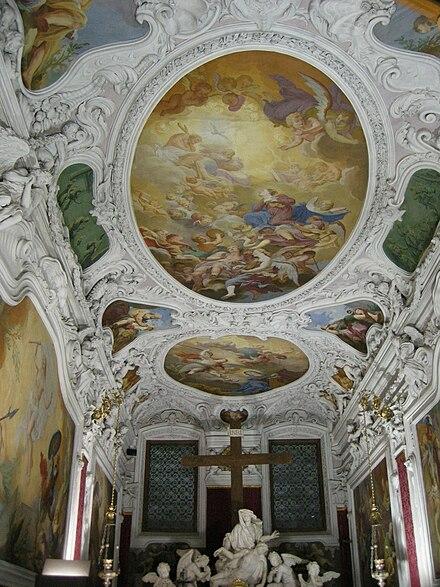 Udine - Cappella del Monte di Pietà - Vista degli affreschi del soffitto.