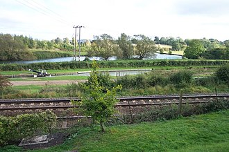 Crofton Pumping Station - Wilton Water, the canal and railway from the pumping station