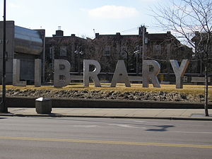 Walker Library (Minneapolis) - Iconic letters outside of building