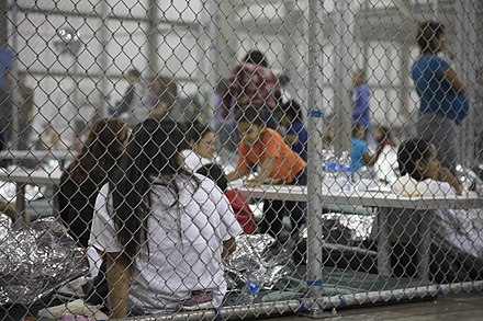 Children of Illegal Immigrants from Latin America to the United States detained in the Ursula Detention Center, McAllen, Texas. Ursula (detention center) 180617-H-BP911-641 (41979746295).jpg