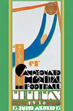 Poster in Art Deco style, depicting a simplified figure of a goalkeeper making a save in its upper half. The lower half contains writing in a heavily stylised font: