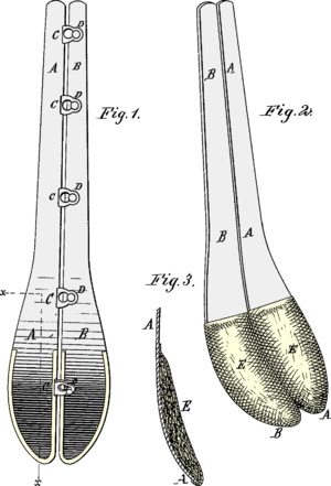 Spoon busk - The pads E will prevent the lower ends of the steels A B from hurting the wearer when she sits down; from 1879.