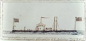 A rough color sketch of the USS Squando at Charleston, South Carolina, in December 1865.
