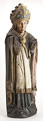 Beeldje van eikenhout, gepolychromeerd, Bisschop