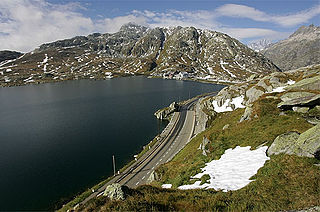 small natural lake at the Grimsel Pass in the canton of Valais, Switzerland