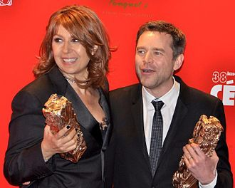 38th César Awards - Valérie Benguigui (left) and Guillaume de Tonquédec, César Award for Best Supporting Actress and Actor.