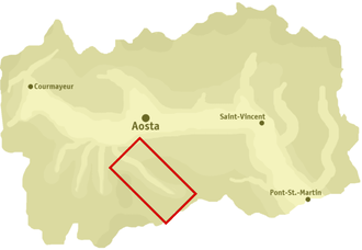 Cogne Valley - Position of the Val di Cogne in Valle d'Aosta.