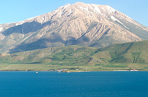 Mount Artos - The dormant volcano Mount Artos (Mt. Çadır) viewed from Akdamar Island in Lake Van, eastern Turkey.