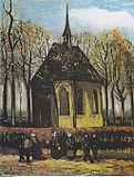 Van Gogh - Die Kirche von Nuenen mit Kirchgängern