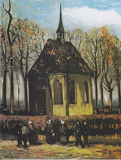 <i>Congregation Leaving the Reformed Church in Nuenen</i> painting by Vincent van Gogh