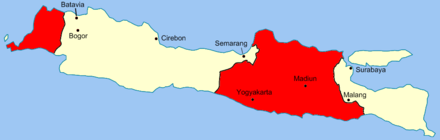 The Van Mook line in Java. Areas in red were under Republican control. Van Mook.png