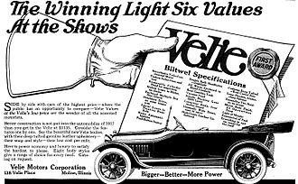Velie - 1917 ad for the Velie Light Six.