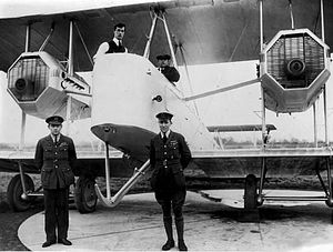 Vickers Vimy - (L-R) Lt Col van Ryneveld with First Lt Quintin Brand, February 1920, in front of Vickers Vimy Silver Queen, before their England to South Africa flight