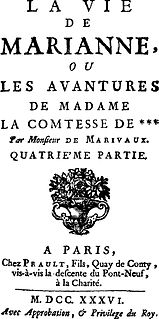 <i>La Vie de Marianne</i> book by Pierre Carlet de Marivaux