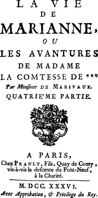 La Vie de Marianne - Fourth part of La Vie de Marianne (1736).