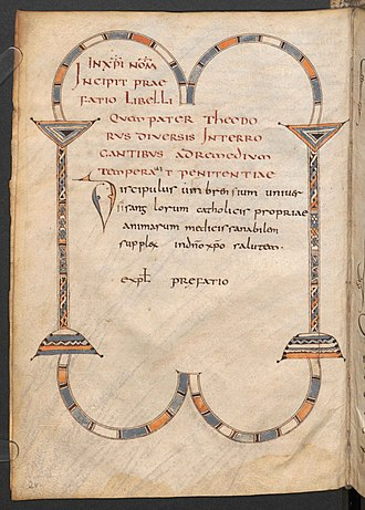 Paenitentiale Theodori - Folio 2v from the Vienna manuscript, Lat. 2195, showing the decorative title and dedication of the Umbrense version of the Paenitentiale Theodori