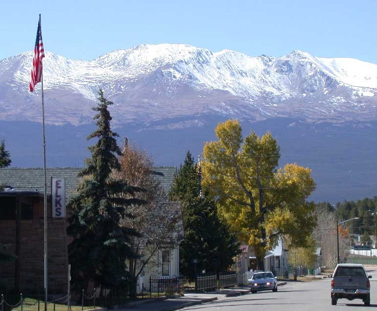 View of Mount Massive looking west from Harrison Street in downtown Leadville, Colorado