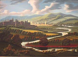 Springfield, Massachusetts - View of Springfield, Massachusetts, on the Connecticut River circa 1840-45, by Thomas Chambers, oil on canvas, as seen at the Springfield Metropolitan Museum of Art