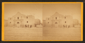 View of four men standing in front of the Alamo, from Robert N. Dennis collection of stereoscopic views.png