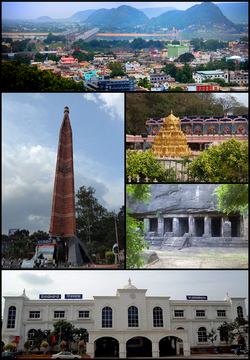 Clockwise from Top Left: Vijayawada City View, Kanakadurga Temple on Indrakeeladri, Akkanna and Madanna Caves, Vijayawada Junction Railway Station, VMC Pylon