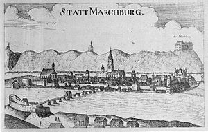 Maribor - Maribor in the 17th century. A copper engraving by Georg Matthäus Vischer, 1678.