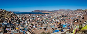 Lake Titicaca - A view of Lake Titicaca taken from the city of Puno