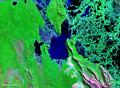Vista satelital de la laguna La Gaiba Bolivia Brasil.png