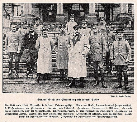 Hindenburg and his staff in 1914 Von Hindenburg and his staff 1914.jpg