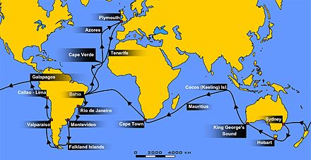 October 2: Darwin returns aboard HMS Beagle. Voyage of the Beagle.jpg