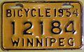 WINNIPEG MANITOBA 1954 -BICYCLE PLATE - Flickr - woody1778a.jpg