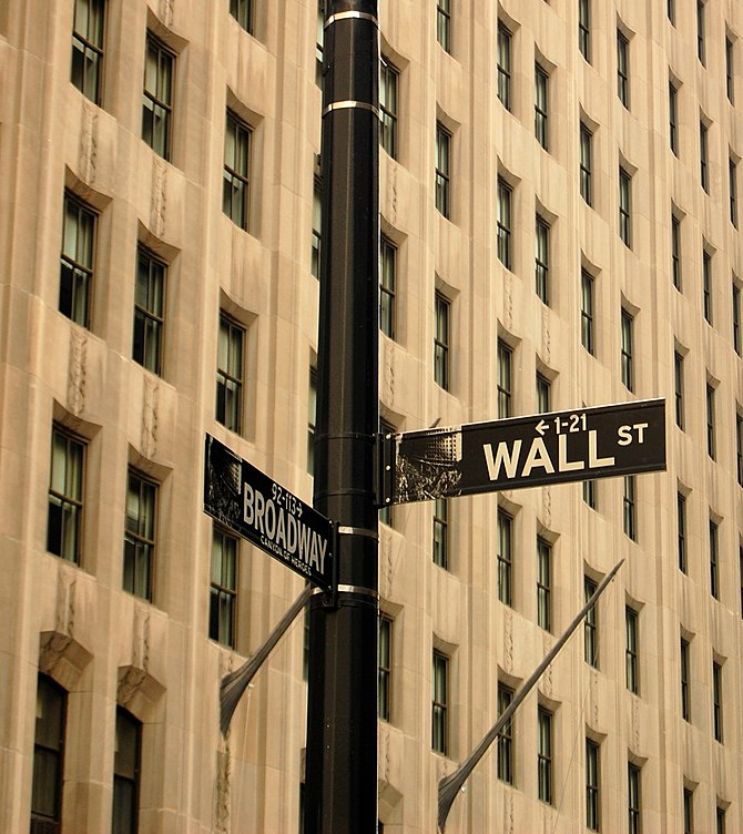 English: The corner of Wall Street and Broadwa...