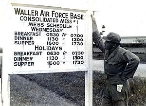 Waller Air Force Base - Sign for Waller AFB mess hall