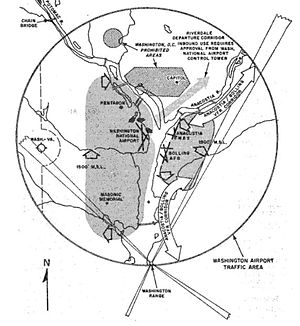 Washington-Virginia Airport - Washington D.C. area airports, from the 1961 Code of Federal Regulations. The Washington-Virginia Airport is on the left of the diagram and shows the one-mile lateral area around the airport