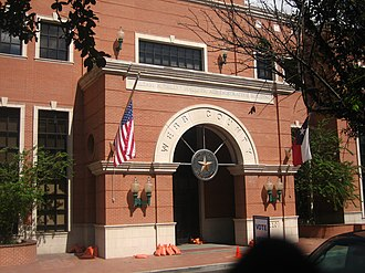 """Billy Hall (Texas politician) - Entrance to the William N. """"Billy"""" Hall Administrative Building annex of the Webb County Courthouse."""