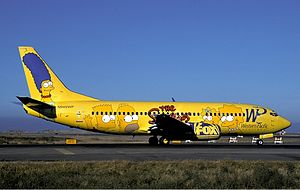 "Western Pacific Airlines Boeing 737-300 in special ""The Simpsons"" livery"