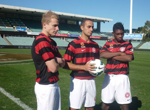 Aaron Mooy - Mooy (left) at the Western Sydney Wanderers launch, along with Tarek Elrich and Kwabena Appiah.