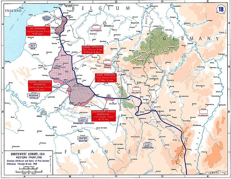 ملخص ساحه الحرب الاوروبيه في الحرب العالميه الاولى  800px-Western_front_1918_german