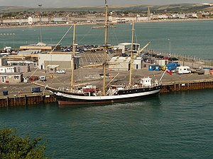 Weymouth Pier - The sail training ship Pelican of London berthed at Weymouth Pier.