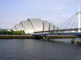 SEC Armadillo - The auditorium viewed from across the Clyde, also showing the Bell's Bridge linking the area to Pacific Quay